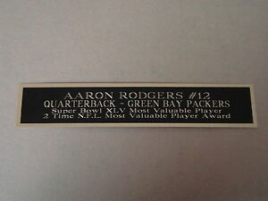 """Aaron Rodgers Green Bay Packers Nameplate For A Football Display 1.5"""" X 8"""""""