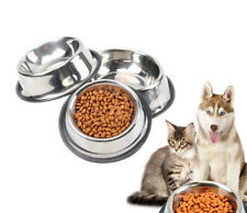 Pet Dog Bowl Cat Water Food Feeder Stainless Steel Dish Non Slip