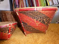 Pair of Vintage Woven straw baskets, Possibly Amazon? South America? Prop/displa