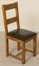 Lincoln Solid Oak Rustic Wood & Brown Bonded Leather Dining Chair Furniture
