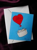 Vintage Sandra Boynton Cat Happy Anniversary Heart Balloon Rare Mini Card 1985