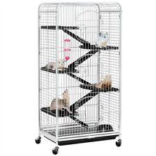 Used 52''Metal Pet Ferret Cage Movable Chinchilla Rabbit Squirrel Habitat White