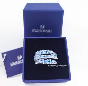New 100% Swarovski Blue Crystal Rolling Twist Wrap Ring 5584653 5582809 5584649