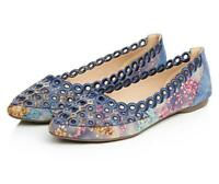 Womens Slip On Loafers Flats Soft Blue Comfort Casual Shoes Ethnic Floral Shoes
