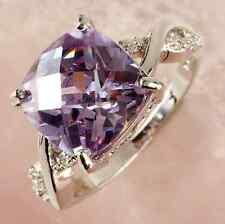 Especial Tourmaline Amethyst White Topaz Gemstone Silver Jewelry New Ring Size 8