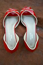 Theory Peep Toe Shoes Made in Italy Vero Cuoio 7.5 Leather Red