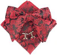 Men's Pre-Tied Paisley Bowtie Oversized Tuxedo Bow Tie Hankie Cufflinks Set New