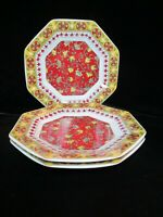 TOSCANY COLLECTION 3 SALAD PLATES OCTAGONAL SHAPE RED & GOLDEN YELLOW FLORAL