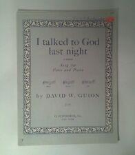 1940 I Talked To God Last Night Sheet Music David W. Guion