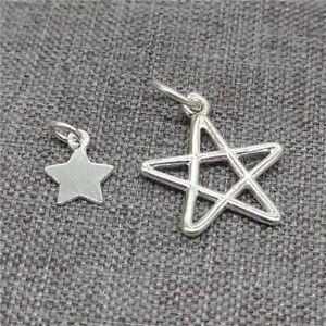 8pcs of 925 Sterling Silver Plain Star Pentagram Charms for Bracelet Necklace