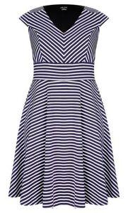 City Chic BNWT Chevron Stripe Dress Plus Size XS /14 RRP$89.00