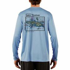 Saint Thomas Nautical Chart Men's UPF 50+ UV/Sun Protection Long Sleeve T-Shirt