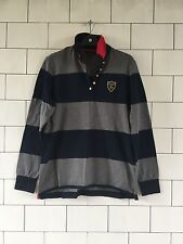 TOMMY HILFIGER MENS VINTAGE RETRO NAVY & GREY STRIPE SWEATSHIRT RUGBY TOP LARGE