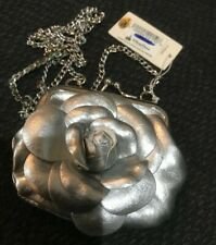Disney Parks Silver Flower Coin Purse with Long Silver Tone Chain Strap