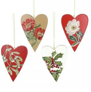 4 x Gisela Graham Heart Shape Botanical Hanging Christmas Tree Decorations