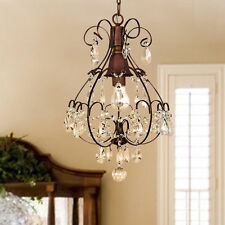 Rustic Crystal Chandelier Teardrop Hanging Pendant Ceiling Antique Fixture S