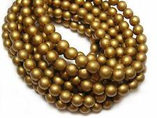 6mm Matte Metallic Aztec Gold Czech Glass Round Druk Beads (30) #4217