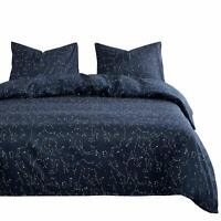 Wake In Cloud - Constellation Comforter Set, Navy Blue with White Space Stars Pa