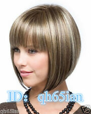 New sexy Women's ladies wigs short Brown blonde mixed Natural Hair wigs +wig cap