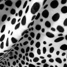 VELBOA FAUX FAKE FUR DALMATIAN WAVE ANIMAL PRINT SHORT PILE FABRIC BLACK WHITE
