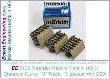 "EE 5102 NEW (LN to New) Marklin HO ""M"" Track Stubby Standard Crv 1/4 6Ties Box10"