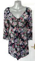 ❤ FAT FACE Size 14 (US 10 EU 42) Navy Blue Pink Lilac Floral Stretch Tunic Dress