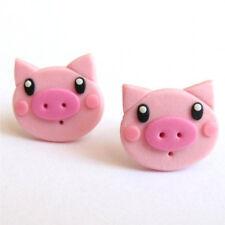 FUNNY Mini Maiale Rosa Ragazze Animale Ragazze Bambini Fatto a mano IDEA REGALO ORECCHINI