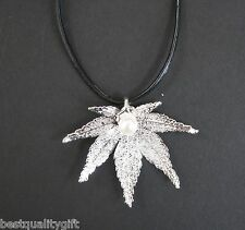 REAL NATURAL SILVER TONE JAPANESE MAPLE LEAF+FRESH WATER PEARL+LEATHER NECKLACE