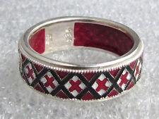 Ukrainian Embroidery Rushnyk Towel Ring, Red-White-Black Enamel, S.S. 7.5 size