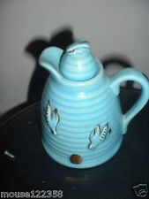Vintage  Art Pottery  Blue Bee hive Honey pitcher Gold