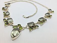 "Italian~925 Y Sterling Silver- 22""-Multi Gemstone Necklace- 49.9g  #592"