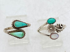 2 Navajo Sterling Silver Turquoise Mother Of Pearl Rings Tooled Native American