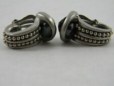 Vtg Modernist Designer Earrings Smoky Quartz Silver Hematite Clip On