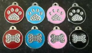 Pet ID Tag Tags Quality 25mm Reflective Diamante Dog Paw or Bone Design