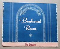 1947 The Stevens Hotel  Boulevard Room Menu, Chicago IL