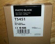 11-2017 New Genuine Epson T5451 110ml Photo Black Ink 7600, 9600