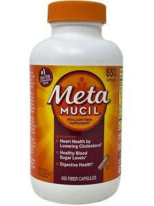 Meta Mucil Psyllium Fiber Supplement 650 Capsules (Bottle Slightly Disfigured)
