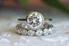 Wedding 14k White Gold Ring Set 8 mm Near White Moissanite Diamond Engagement