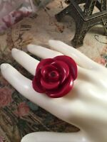 Vintage Jewellery Dark Rose Red Large Resin Ring Statement Runway Retro Jewelry