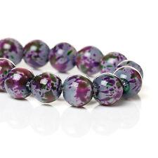 20 perles en verre tacheté gris rose et vert 8 mm