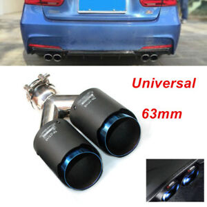 """Car SUV Oval Carbon Fiber Exhaust Dual Tip Blue Steel 2.5"""" Muffler Pipe 63mm In"""