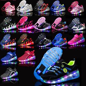 Flash Skates Shoes Kids Girls Boys Skate LED Shoes Size Light Up Heelys Shoes UK