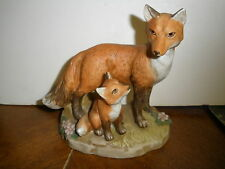 Vintage Homco Red Fox Mama and Baby Fox Pup Figurine #1417 Excellent