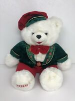 "BIG 24"" SNOWFLAKE TEDDY BEAR 2001 CHRISTMAS HOLIDAY RED BERET PLUSH STUFFED"