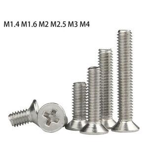 Nickel Countersunk Phillips Machine Screws Flat head Bolt M1.4 M2 M2.5 M3 M4