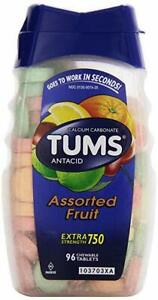 TUMS Antacid Calcium Carbonate 750 mg 96 tablets