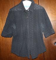 Women Ladies Alfani Black Eyelet Button-Down Short Sleeve Size 12