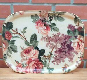Vintage Mid Century Floral Fibreglass Large Serving Tray 1960s Rectangular