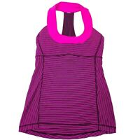 Lululemon Pink Black Striped Scoop Neck Yoga Athletic Tank Top - Womens Size 4
