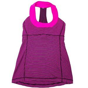 Lululemon Pink Black Striped Scoop Neck Women's Yoga Tank Top • Size 4